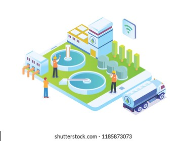 Modern Isometric Smart Water Purification And Treatment Plant Facilities, Suitable for Diagrams, Infographics, Illustration, And Other Graphic Related Assets