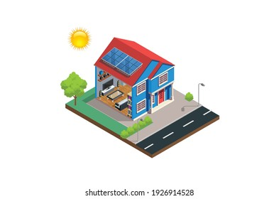 Modern Isometric solar cell house system diagram, isometric vector, Suitable for Diagrams, And Other Graphic Related Assets