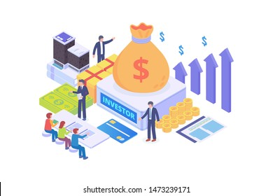 Modern Isometric Sponsorship Investment Illustration, Web Banners, Suitable for Diagrams, Infographics, Book Illustration, Game Asset, And Other Graphic Related Assets
