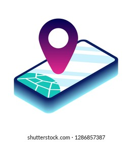 Modern Isometric Tracking Map, Diagrams, Infographics, Illustration, Vector, Smartphone