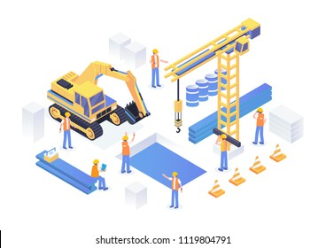 Modern Isometric Under Construction Industrial Site Concept Illustration In Isolated White Background