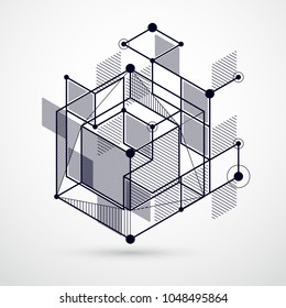Modern isometric vector abstract black and white background with geometric element. Layout of cubes, hexagons, squares, rectangles and different abstract elements.