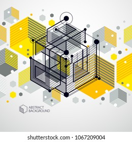 Modern isometric vector abstract yellow background with geometric element. Layout of cubes, hexagons, squares, rectangles and different abstract elements.