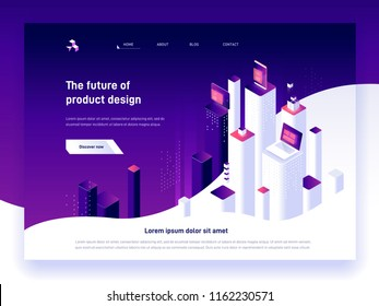 Modern isometric vector illustration concept of digital marketing and app development. 3d abstract platforms and devices. Creative landing page design template.
