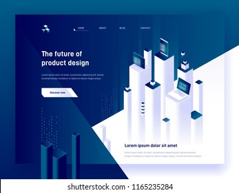 Modern isometric vector illustration concept of product development and digital marketing. 3d devices, charts and platforms. Creative landing page design template.