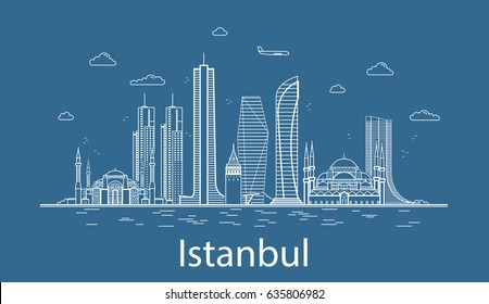 Modern Istanbul city line art Vector illustration with all famous buildings. Skyline.