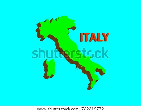 Modern Map Of Italy.Modern Italy 3 D Map On Blue Stock Vector Royalty Free 762315772