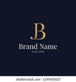 modern JB elegance luxury logo navy blue and gold color