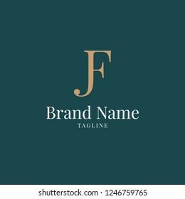 modern JF elegance luxury logo green and gold