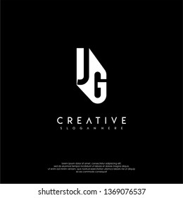 modern JG logo letter in shadow shape design concept