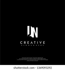 modern JN logo letter in shadow shape design concept