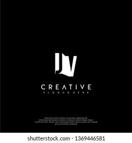 modern JV logo letter in shadow shape design concept