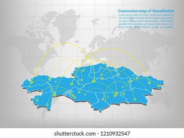 Modern of kazakhstan Map connections network design, Best Internet Concept of kazakhstan map business from concepts series, map point and line composition. Infographic map. Vector Illustration.