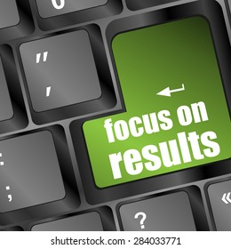 Modern keyboard focus on results text. Technology concept vector