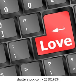 Modern keyboard with love text. Social network concept, vector
