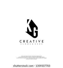 modern KG logo letter shadow design concept