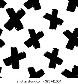 Modern kids b&w seamless pattern with x. Hand drawn graphic with black cute minimalistic scandinavian cartoon elements on white background