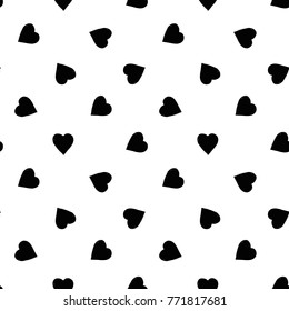 Modern kids b&w seamless pattern with heart. Hand drawn graphic black and white cute minimalistic scandinavian cartoon elements on white background