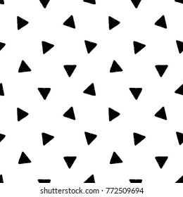 Modern kids b&w seamless pattern with triangle. Hand drawn graphic black and white cute minimalistic scandinavian cartoon elements on white background