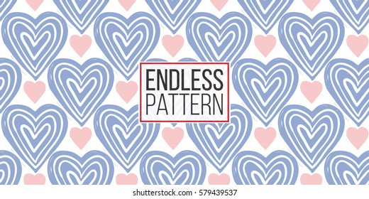 Modern kids soft colored seamless pattern with heart and line heart. Hand drawn graphic with tender cute minimalistic scandinavian cartoon elements isolated on white background