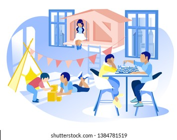 Modern Kindergarten for Uneven-Aged Diverse Children Promotion Banner Older Boys Playing Chess Smaller with Building Blocks Little Girl Sitting in Toy House Vector Happy Childhood Illustration