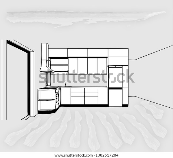 Modern Kitchen Design Sketch Project Simple Stock Vector Royalty