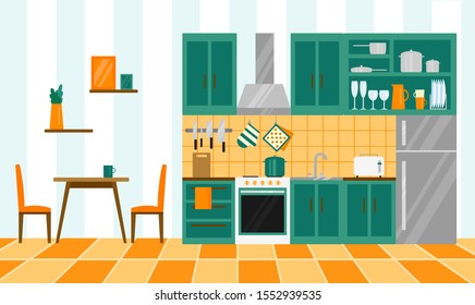 modern kitchen in flat style. interior with furniture and equipment. vector illustration