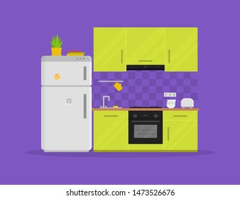 Modern kitchen with furniture. Cozy kitchen interior with refrigerator, stove and toaster. Electric appliances. Home design. Cooking theme. Flat style vector illustration.