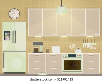 Modern kitchen with furniture, kitchenware and IoT (Internet of Things) tech.