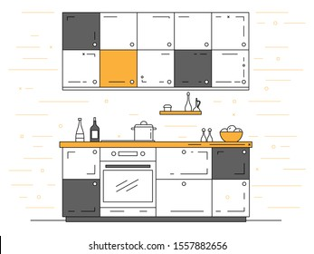 Modern kitchen. Kitchen furniture with sink, hob and extractor. Vector illustration in a linear style.