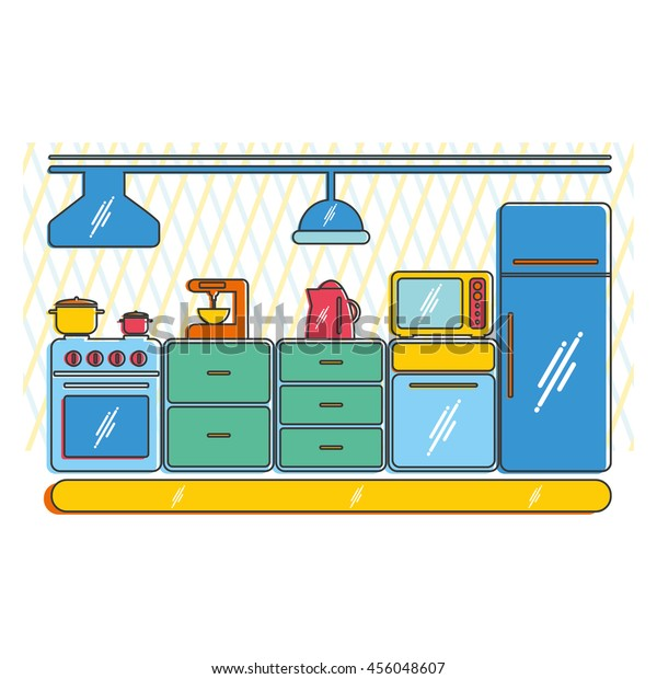 Modern Kitchen Interior Household Items Appliances Stock