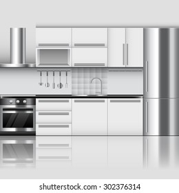 White Contemporary Kitchen Stock Vectors Images Amp Vector
