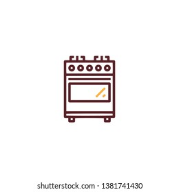 Modern kitchen oven icon in trendy flat style isolated on white background