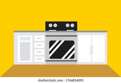 Modern Kitchen Set with Oven on Yellow Background