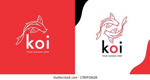 Modern Koi Fish logo template design. Creative Japanese Asian Carp line icons. Orange Goldfish brand symbol. Vector illustration.
