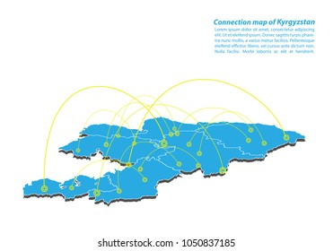 Modern of kyrgyzstan Map connections network design, Best Internet Concept of kyrgyzstan map business from concepts series, map point and line composition. Infographic map. Vector Illustration.