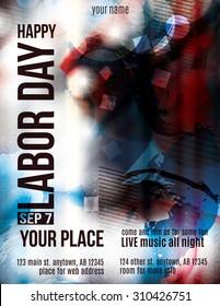 Modern Labor Day Celebration grunge flyer template