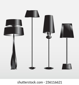 modern lamps black set vector
