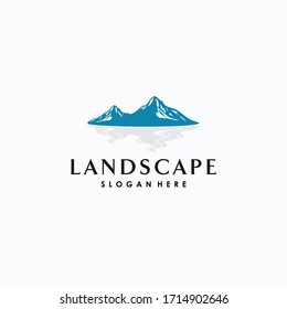 Modern Landscape Hills / Mountain Peaks River Creek Vector logo design
