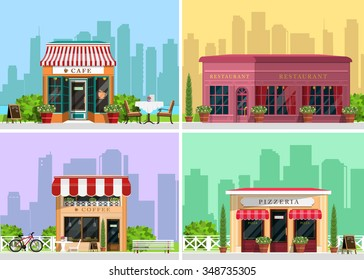 Modern landscape set with cafe, restaurant, pizzeria, coffee house building, trees, bushes, flowers, benches, restaurant tables. Flat style vector illustration.