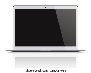 Modern laptop with black screen isolated on white background. Vector illustration.