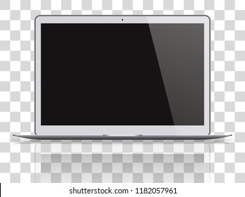 Modern laptop with black screen isolated on transparent background. Vector illustration.