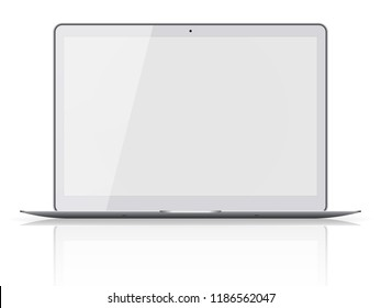 Modern laptop with blank screen isolated on white background. Vector illustration.