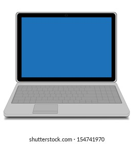 Modern laptop with blue screen isolated on white