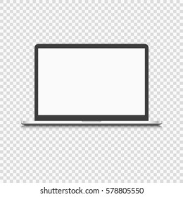 Modern laptop computer isolated on transparent background. Vector mockup. Vector realistic illustration.