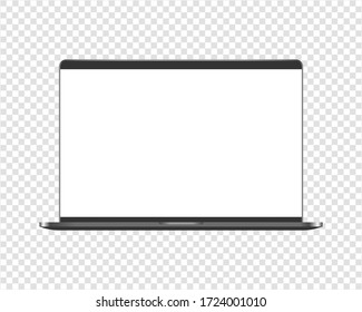 Modern laptop computer mockup. Laptop computer mockup with transparent screen. Mockup isolated on transparent background.