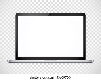 Modern laptop computer vector mockup isolated on transparent. Vector notebook photoreal illustration. Template for a content