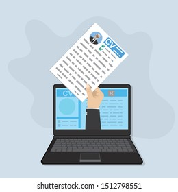 Modern laptop and hand holding paper cv resume. Online recruitment and job search concept. Flat design, vector illustration