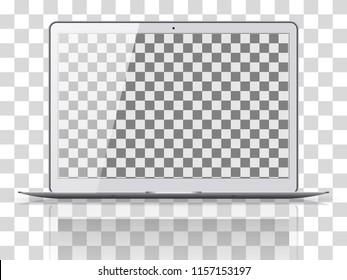 Modern laptop isolated on transparent background. Vector illustration