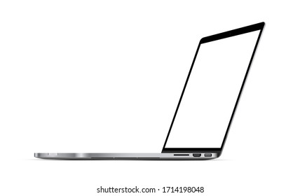 Modern laptop mockup with perspective view, isolated on white background. Vector illustration